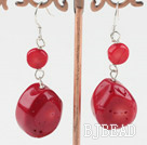 flat round red coral earrings