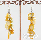 dyed yellow pearl shell earrings under $4