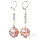 Dangle Style Pink Mosaics Shell and Gray Crystal Long Earrings