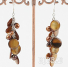 dyed brown pearl shell earrings