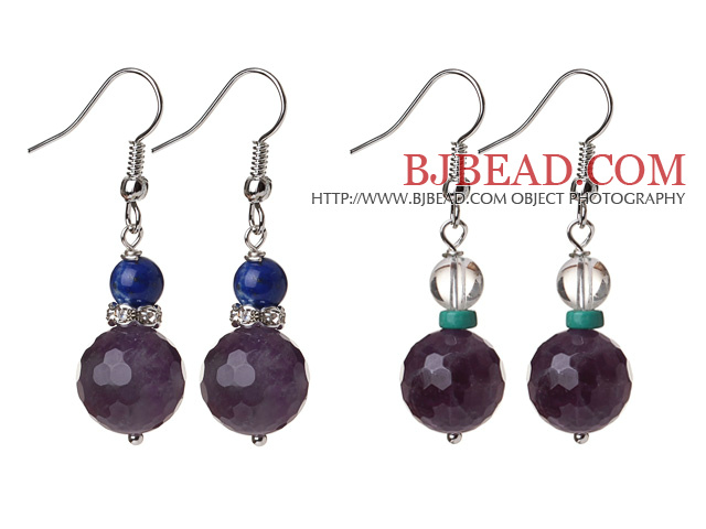 2 Pcs Fashion Style 12mm Faceted Amethyst Ball And Lapis Clear Crystal Earrings