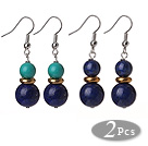 2 Pcs Fashion Style 12mm Natural Lapis Ball And Turquoise Earrings