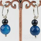 black pearl and blue agate earrings