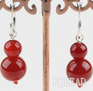 8-12mm red carnelian beaded earrings