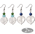 2 Pcs Beautiful Summer Design 14mm Heart Shape Clear Crystal And Lapis Chrysoprase Blue Jade Beads Earrings