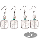 Square Shape Colorful Painting Colored Glaze Earrings