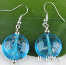 lovely round shape blue colored glaze earrings under $ 40