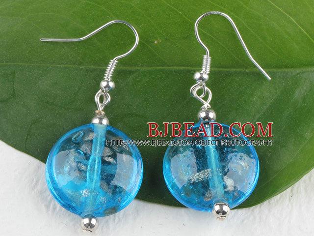 lovely round shape blue colored glaze earrings
