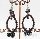 New design big style garnet and black pearl earrings