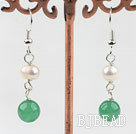 Lovely Style White Freshwater Pearl and Aventurine Earrings under $ 40
