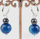 cute blue agate black pearl earrings