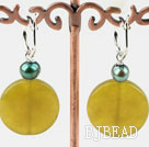 green pearl and olive jade earrings