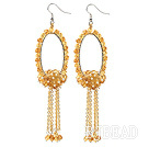 Fashion Style Faceted Citrine Long Dangle Tassel Earrings with Big Hoop under $ 40
