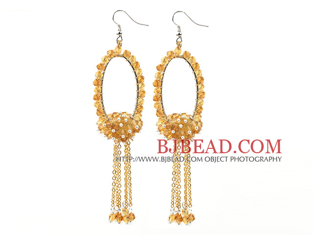 Fashion Style Faceted Citrine Long Dangle Tassel Earrings with Big Hoop