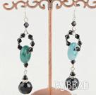 black crystal and blue jade earrings