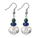Simple Fashion Design Pumpkin Shape Natural White Crystal And Green Phoenix Stone And Lapis Dangle Earrings