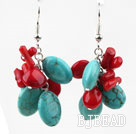 Cluster Style Assorted Red Coral and Oval Shape Turquoise Earrings