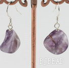waved natural amethyst earring