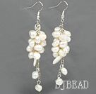 cluster style white pearl and shell earrings