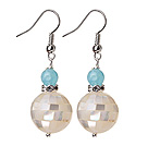 16mm Mosaics White Lip Shell Ball And Blue Jade Dangle Earrings under $ 40