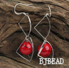 trendy 14mm round blood stone earrings