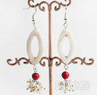 white pearl and shell coral earrings