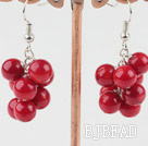 6mm round red coral earrings under $ 40