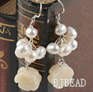 pearl and yellow jade earrings