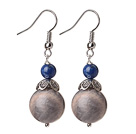 Vintage Gray Moonstone Ball And Lapis Bead Earrings With Petal Shape Tibet Silver