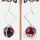 14mm purple agate earrings