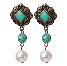 Elegant Vintage Style Faceted Green Turquoise And White Sea Shell Beads Earrings