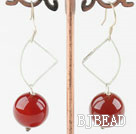 faceted 14mm round red agate earrings