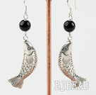 black agate and fish finding earrings