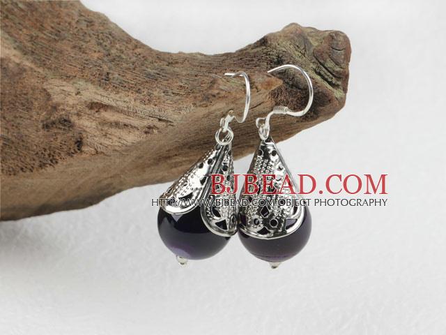 Lovely Style Purple Agate Earrings