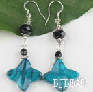 black crystal blue stone earrings