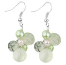 Assorted Green Freshwater Pearl and Green Rutilated Quartz Earrings