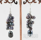 cluster style black pearl earrings