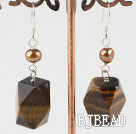 brown pearl tiger eye earrings