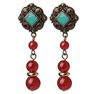Vintage Tibetan Style Round Red Agate Beads Earrings