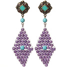 Trendy Special Rhombus Shape Amethyst Beads And Turquoise Wire Wrapped Earrings With Tibetan Accessory
