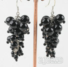 cluster style black agate earrings