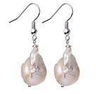 Fashion Simple Design Natural White Nuclear Pearl Earrings With Fish Hook