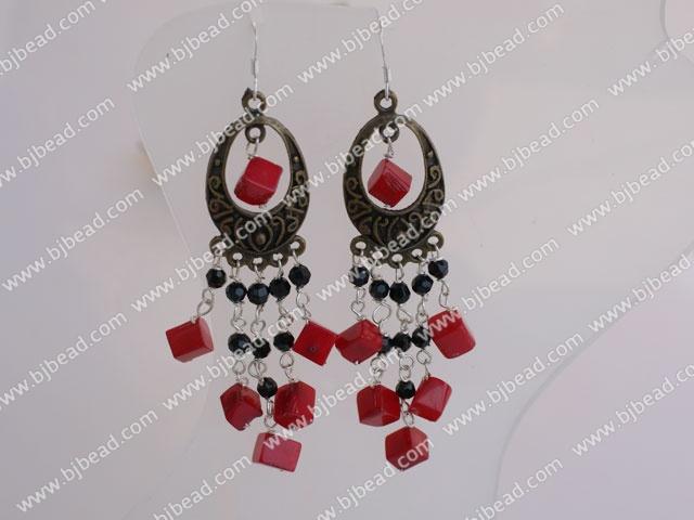 black crystal and red coral earrigns