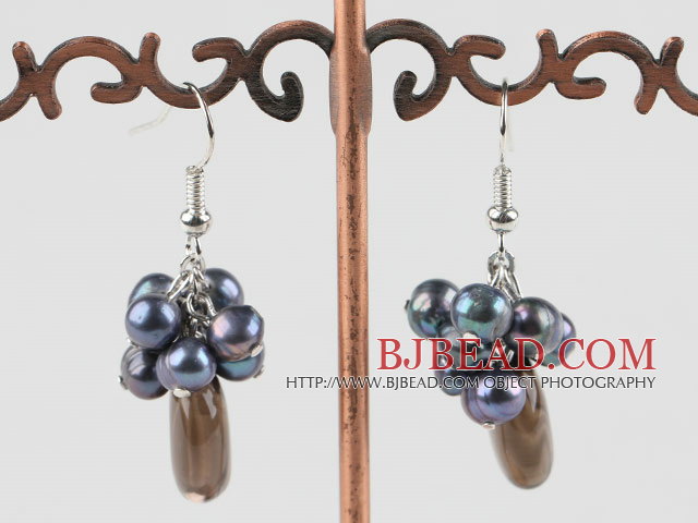 black pearl and smoky quartze earrings