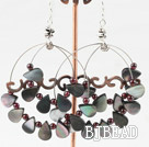 garnet and black lip shell earrings under $ 40