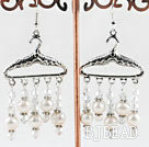 hanger style white pearl and crystal earrings