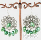 dyed green pearl earrings under $ 40