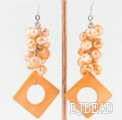 dyed pearl and shell earrings