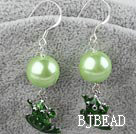 acrylic pearl and green frog earrigns under $ 40