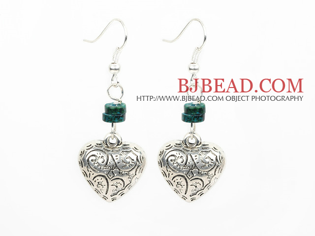 phoenix stone heart tibet silver earrings